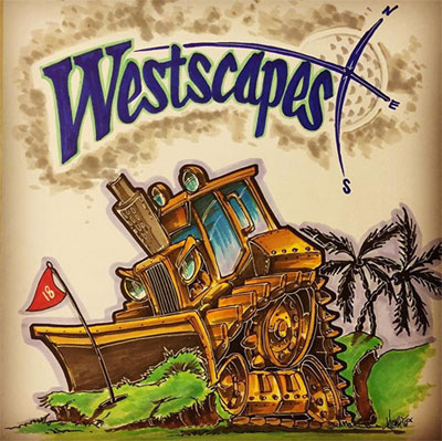 Sketch of Westscapes logo and escavator.
